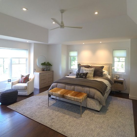 Styling of bedroom and lighting in modern addition