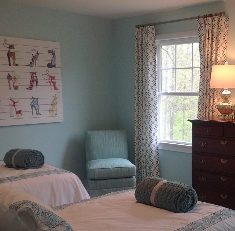 Guest bedroom with soothing color palette