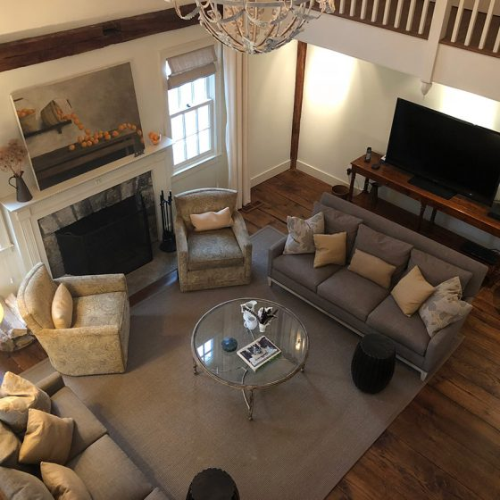 Spacious updated farmhouse living room