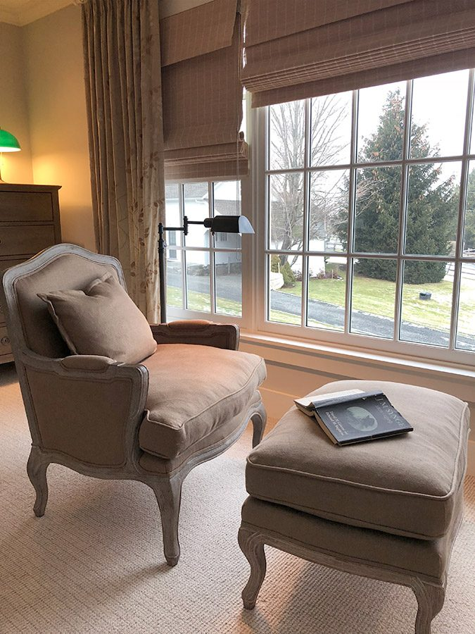 Quiet seating area and window treatment